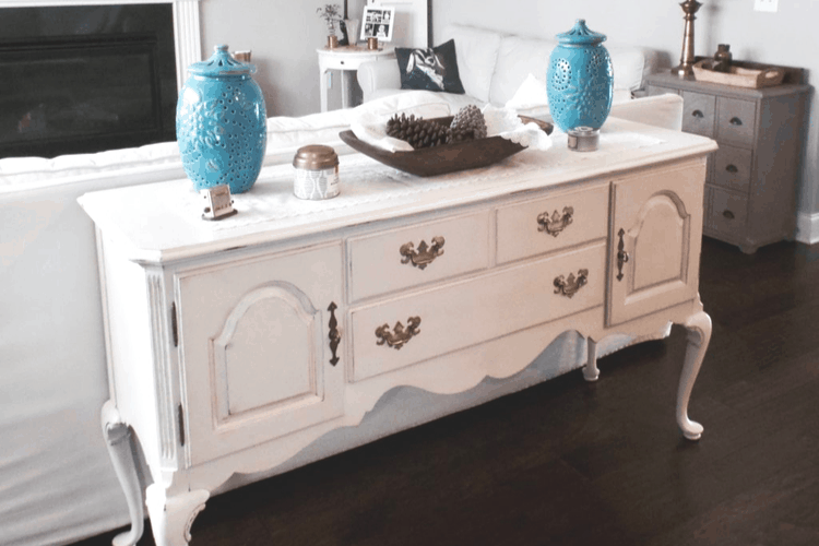 white buffet after painting