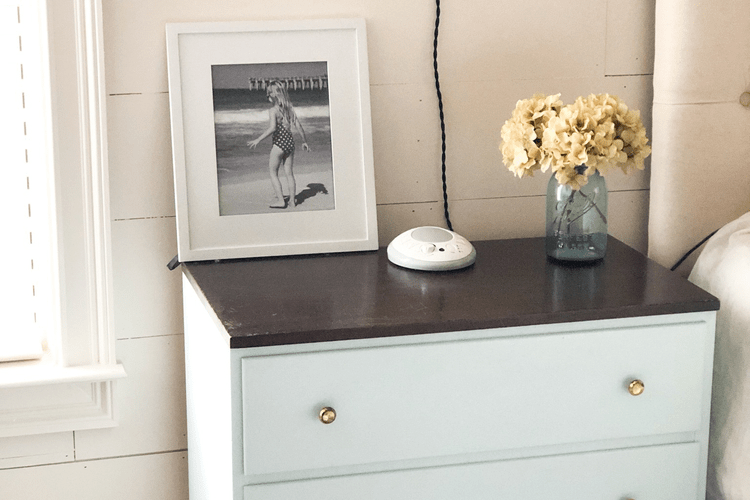 nightstand makeover with sea salt paint and restor-a-finish