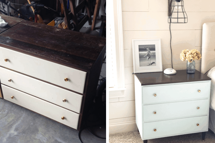 Nightstand before and after makeover