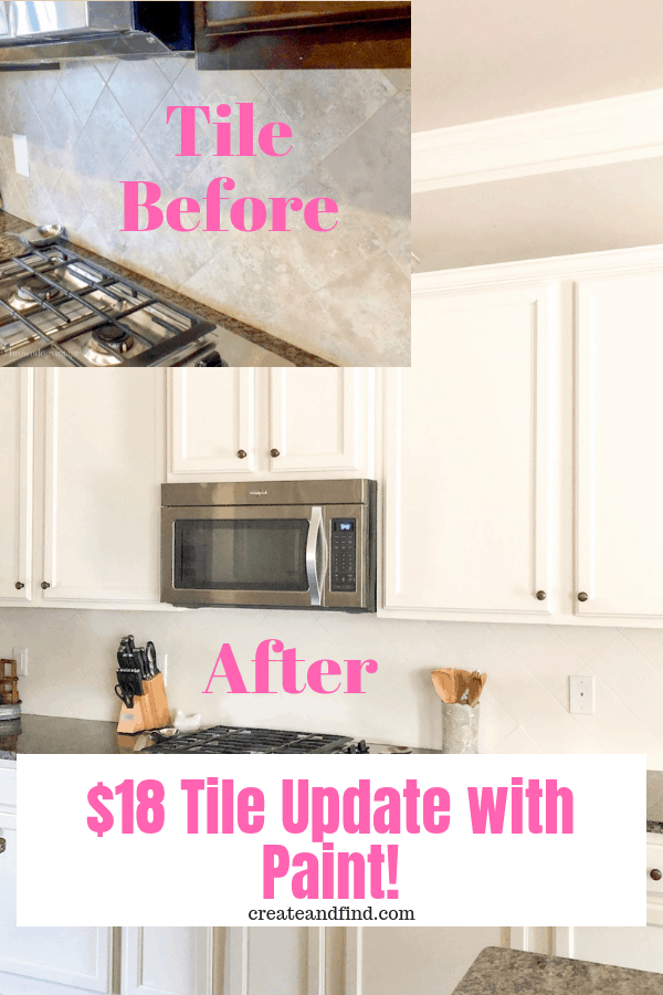 Painting tile backsplash - how to update your kitchen backsplash for cheap. #createandfind #paintingtile #kitchens #diyprojects