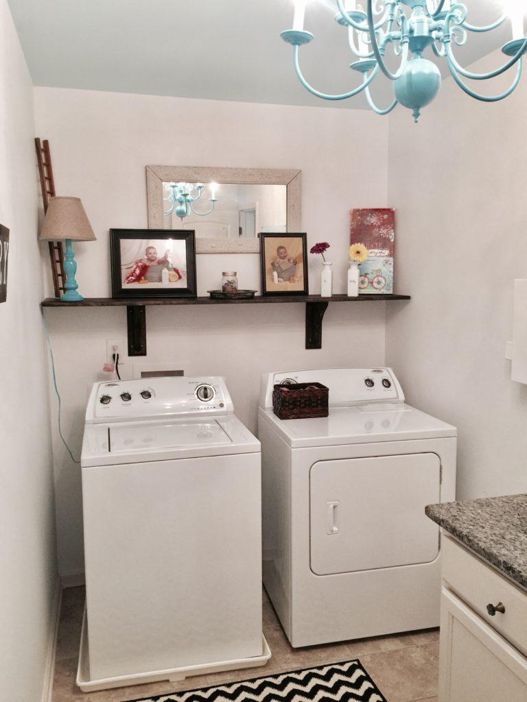 budget laundry makeover diy shelf chandelier