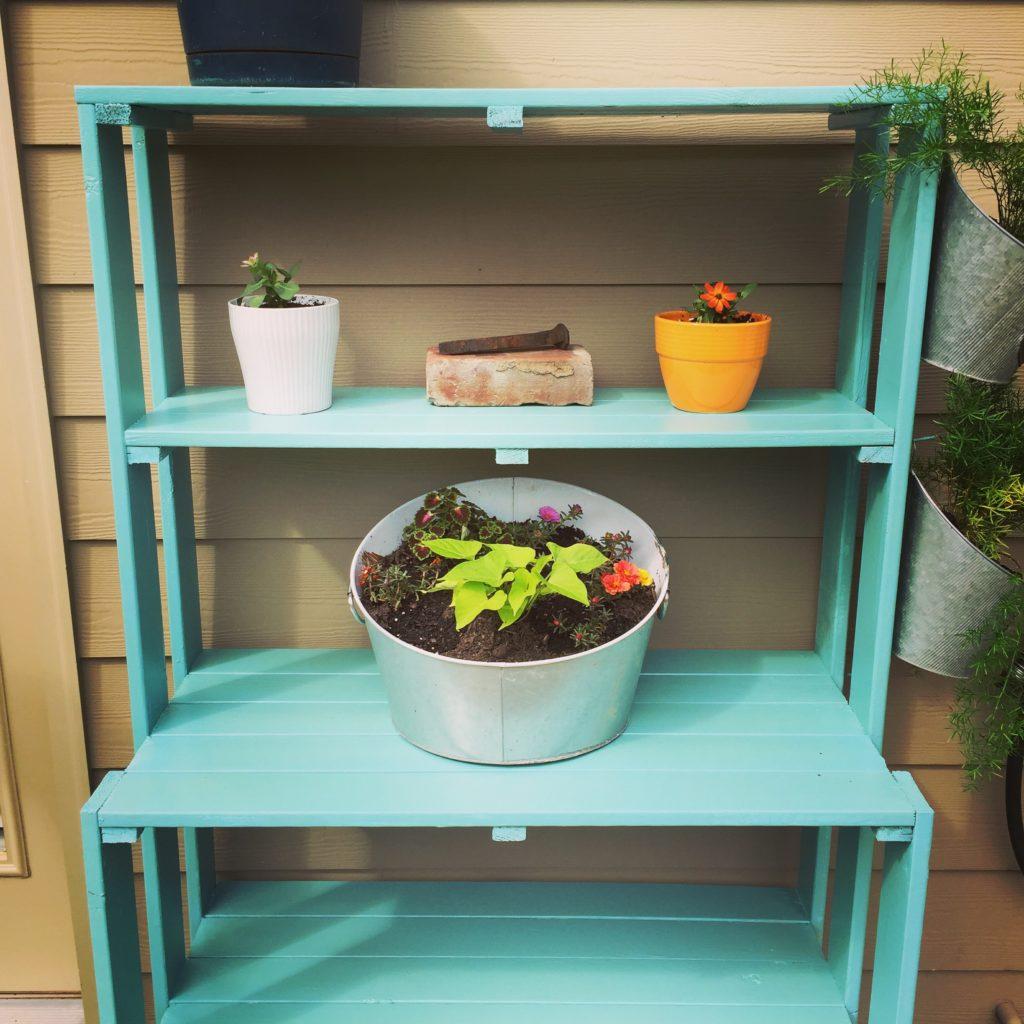 Plant shelf makeover patio