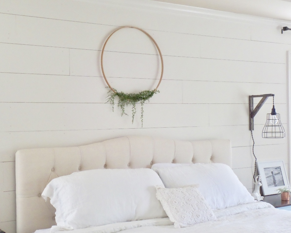 master bedroom update diy floral hoop wreath
