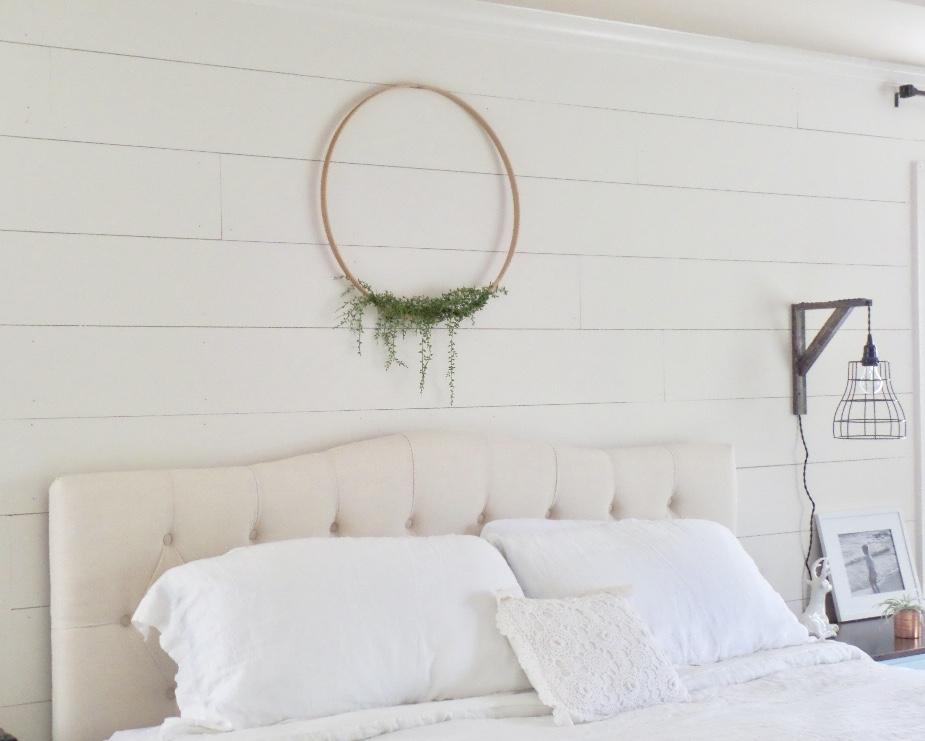 master bedroom update diy floral hoop wreath