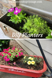 DIY Planters from a vintage metal toolbox and a rusty red wagon