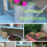 7 DIY Farmhouse style planters you can make using thrifted finds. #planters #diyplanters
