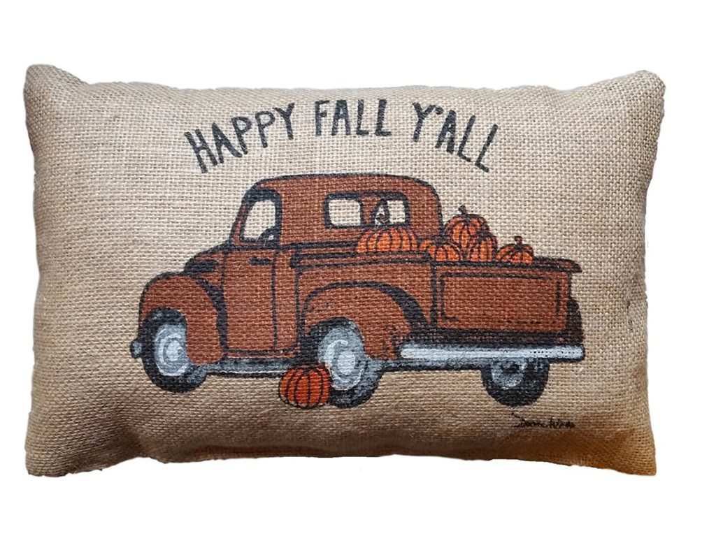 top ten tuesday - fall decor under $10 truck pillow