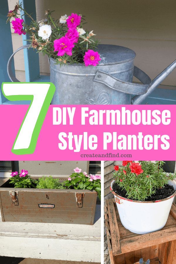 7 DIY farmhouse style planters you can make with thrifted or vintage finds. #planters #farmhousestyle #diyprojects