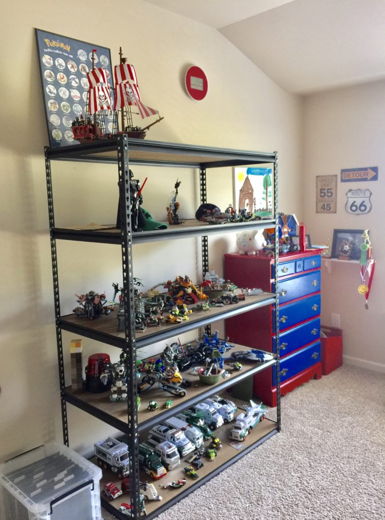 Semi DIY for how to store legos industrial shelving