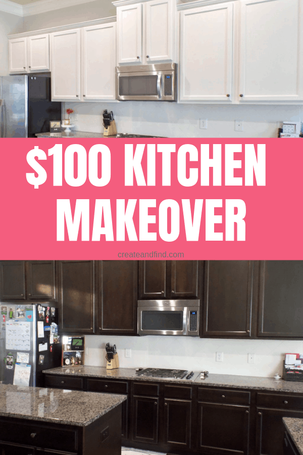 A DIY kitchen makeover for $100 - change the whole look of your kitchen with paint! #createandfind #diyprojects #kitchenmakeovers #paintingcabinets