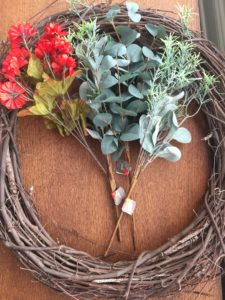 DIY fall wreath with dollar store supplies
