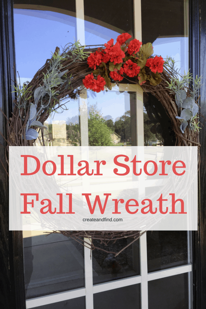Dollar Store Fall Wreath - Use basic dollar store supplies for this quick and easy DIY project for fall. Five minutes and a few dollars and you've got a new diy wreath #createandfind #dollartree #dollarstorewreath #diyprojects #falldecor #diyfalldecor