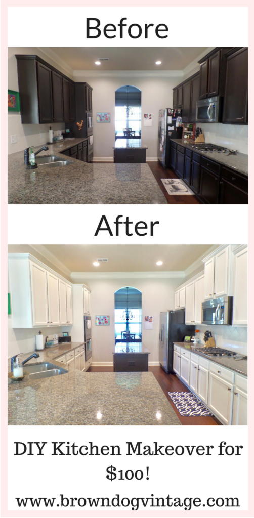 DIY kitchen cabinet makeover painting cabinets white