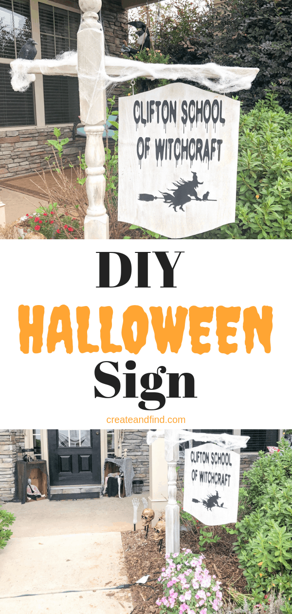 DIY Halloween Sign made with vinyl graphics and wood. Make your own custom Halloween decor this year with this spooky DIY project #createandfind #halloweendecor #diyprojects #diyhalloweendecor #halloween