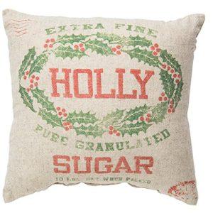 vintage inspired grain sack christmas pillow