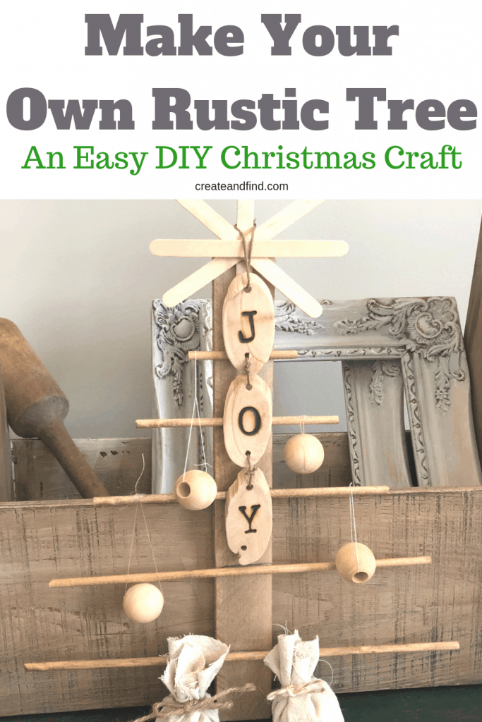 An easy DIY Christmas craft - make your own DIY Rustic Tree with craft store supplies #createandfind #diyrustictree #christmascrafts