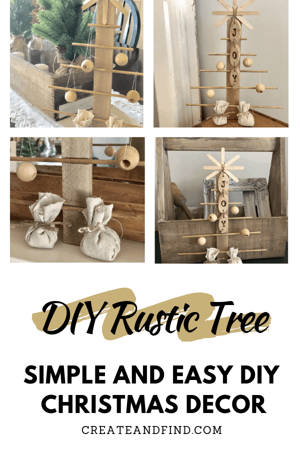 Easy DIY rustic Christmas Tree - Make your own Christmas decor using basic craft store supplies #createandfind #diychristmasdecor #diychristmastree #christmas #diytree #diyprojects