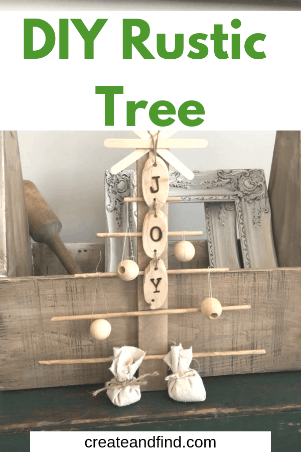 DIY rustic Christmas tree using wood shims, dowels, and simple craft store supplies #createandfind #diytree #christmasdecor #diychristmasdecor #christmastree