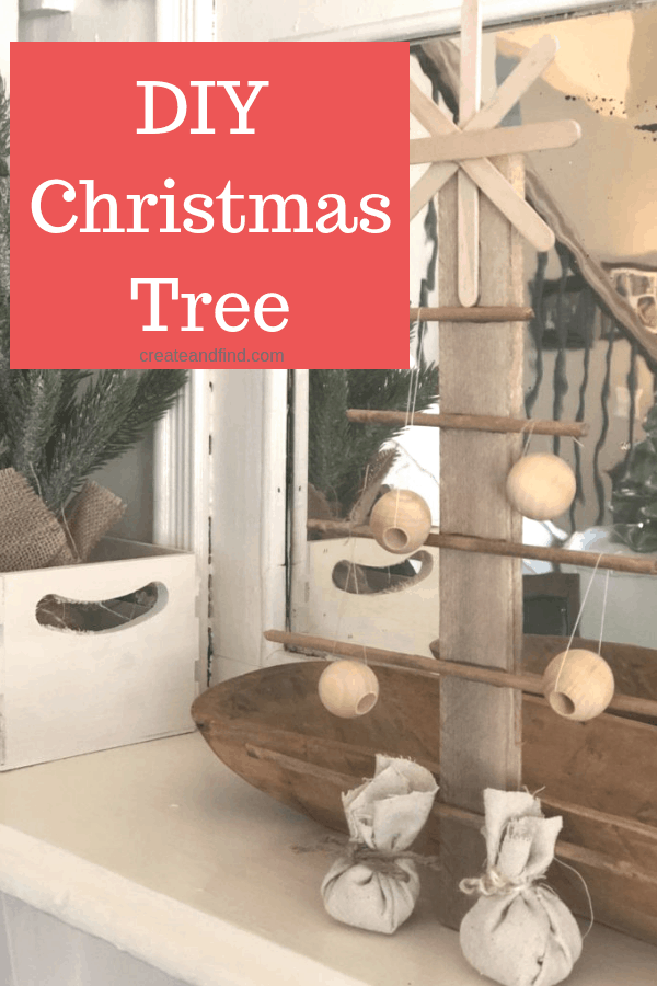 DIY rustic tree using basic craft store supplies - make your own farmhouse style Christmas decor! #createandfind #diychristmasdecor #diychristmastree #diyprojects