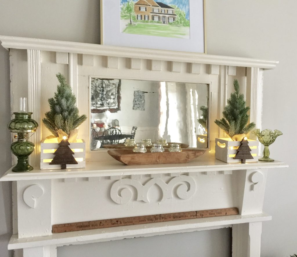 Farmhouse Style Christmas decor rustic crates