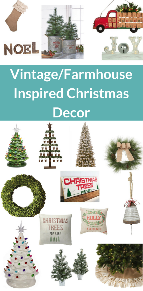 vintage ad farmhouse inspired christmas decor