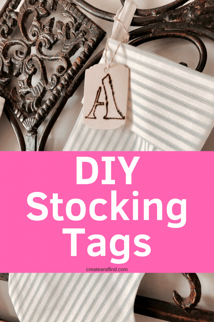 DIY Personalized stockings - make your own stocking tags this year for an easy DIY Christmas decor project. #createandfind #diystockings #personalizedstockings #diychristmascrafts