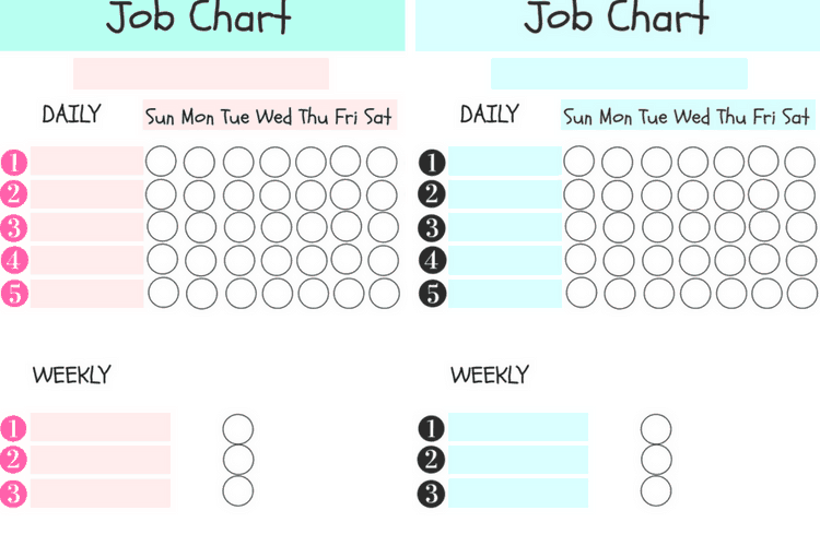 Fillable Job Charts for Kids