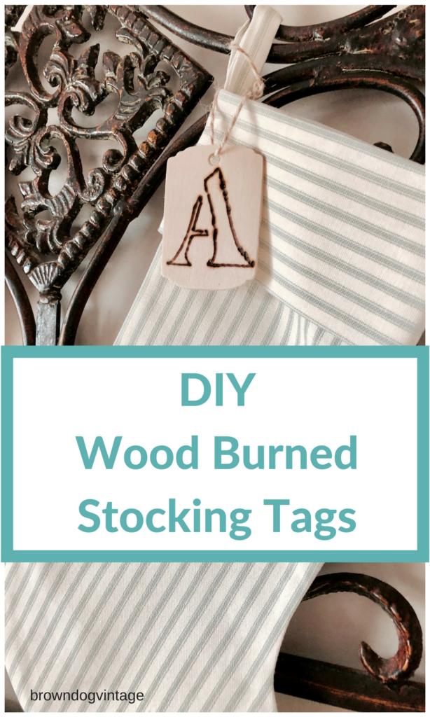 DIY wood burned stocking tags