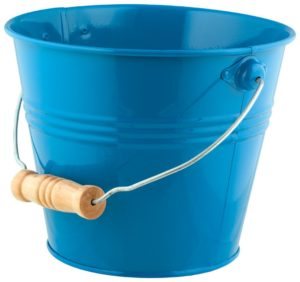blue metal storage bucket