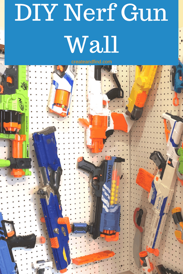 DIY Nerf Gun Wall - A simple DIY project to help organize toys.  Get the clutter under control with this fun project! #createandfind #diynerfgunwall #diyprojects #toyroomstorage #toyroomorganization