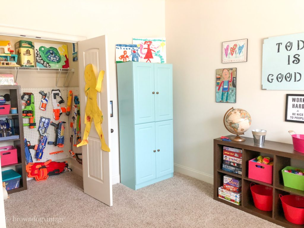 playroom makeover diy nerf gun wall