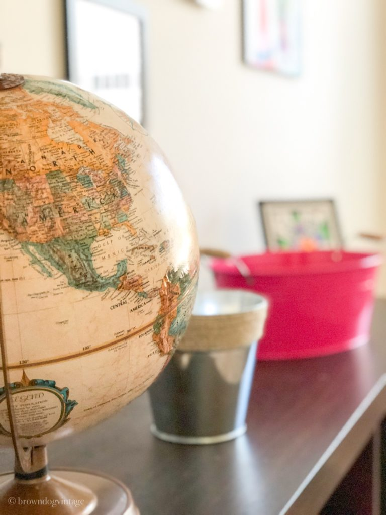 playroom makeover vintage globe