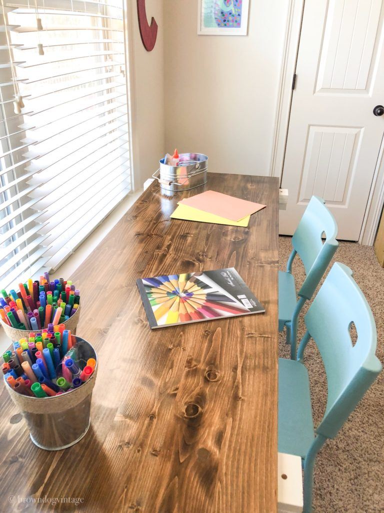 playroom makeover diy desk