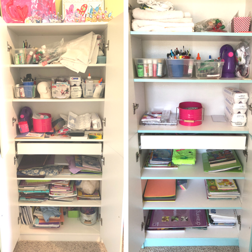 organized craft cabinet for playroom