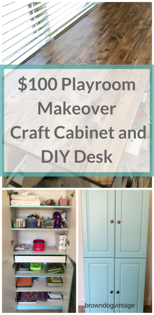 $100 room playroom makeover craft cabinet makeover diy desk