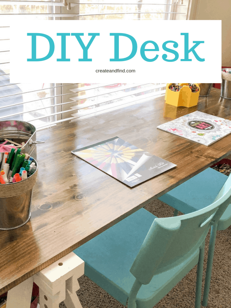 DIY Desk furniture project - I'll show you the steps to build your own desk using lumber and Ikea trestles #createandfind #diyprojects #furnitureprojects #diydesk #desk #playroom #office