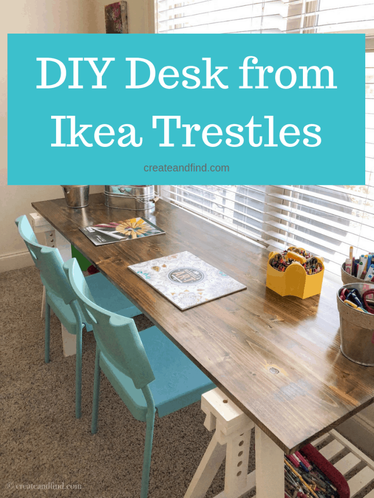 DIY Desk built using Ikea trestles and basic lumber. An easy DIY furniture project you can do to add function and storage to an office, craft room, or playroom #createandfind #diydesk #furnitureproject #diy #build #desks #diydesk