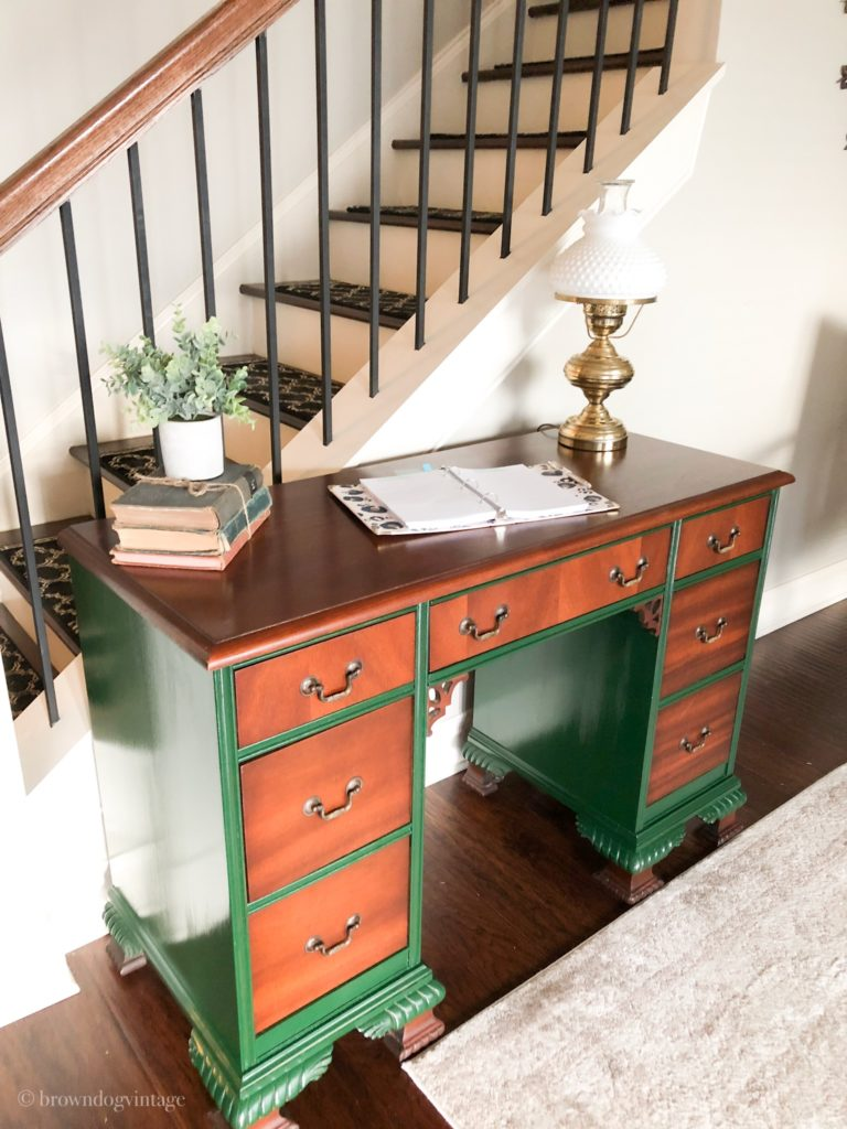 vintage desk makeover hunter green