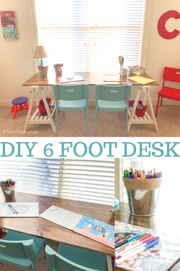 DIY Desk from Ikea trestles. I'll show you how to make your own simple DIY desk using basic lumber and Ikea trestles - Make a 6 foot desk for cheap! #createandfind #diyprojects #build #furnitureprojects #desk #diydesk
