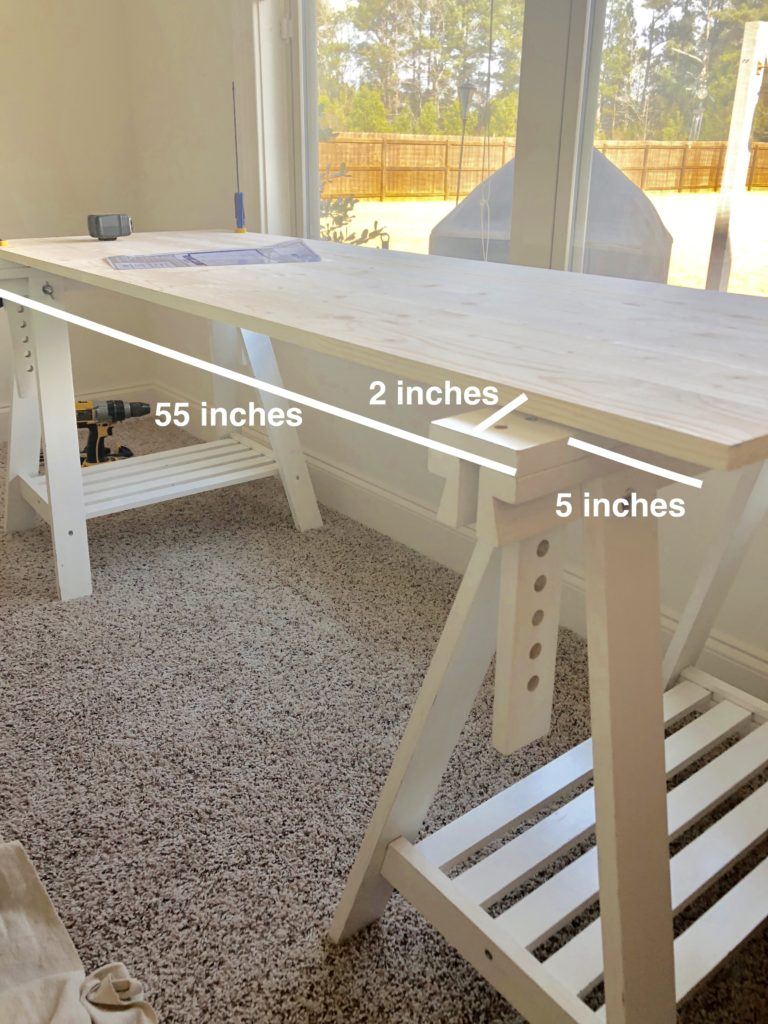 DIY desk from Ikea trestles