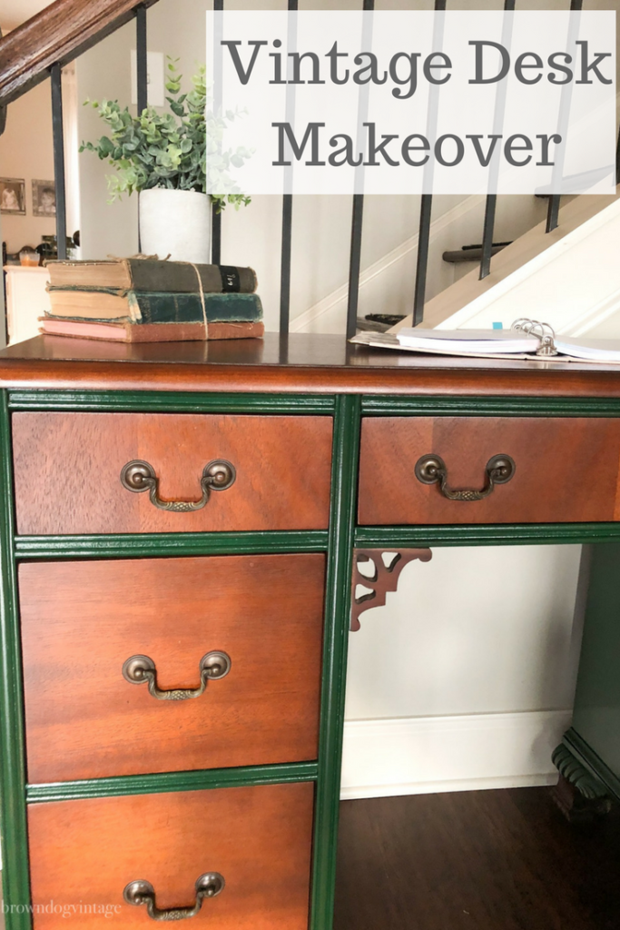 vintage desk makeover hunter green rustoleum