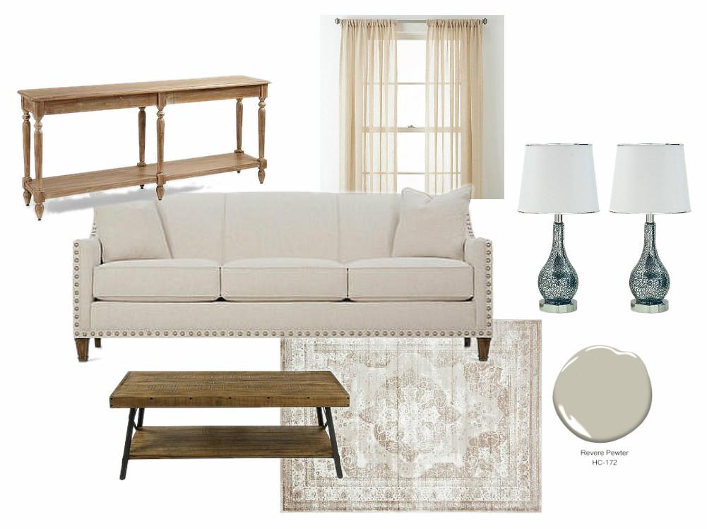 modern farmhouse living room mood board