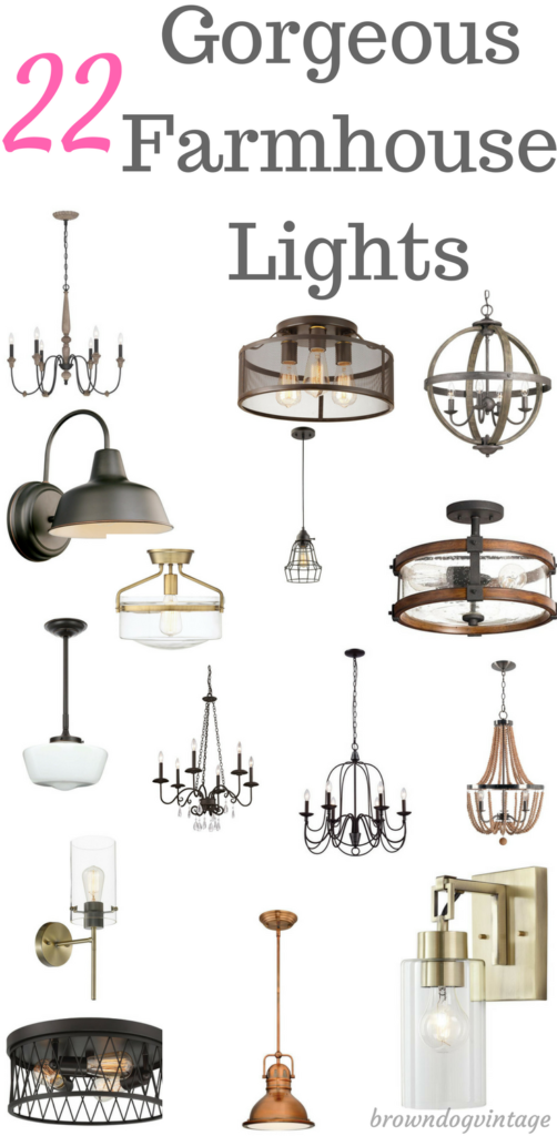 Gorgeous farmhouse lights for your home - pendants, chandeliers, sconces, and more.  Rustic decor lights that are perfect for your farmhouse style #createandfind #lights #lighting #farmhousestyle #rusticdecor