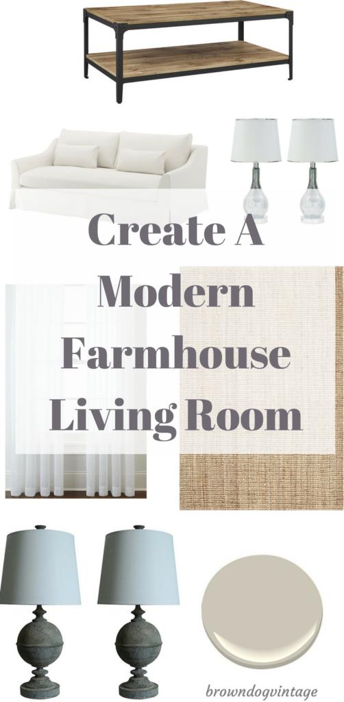 create and design a modern farmhouse living room
