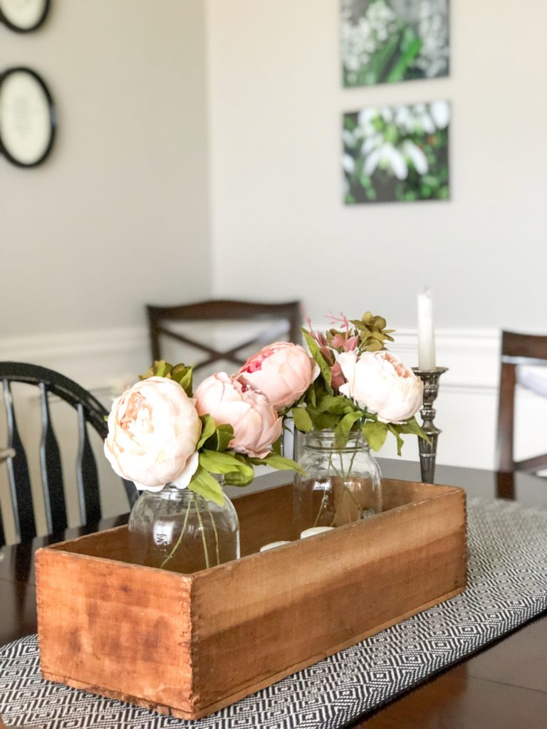 simple spring dining room faux peonies