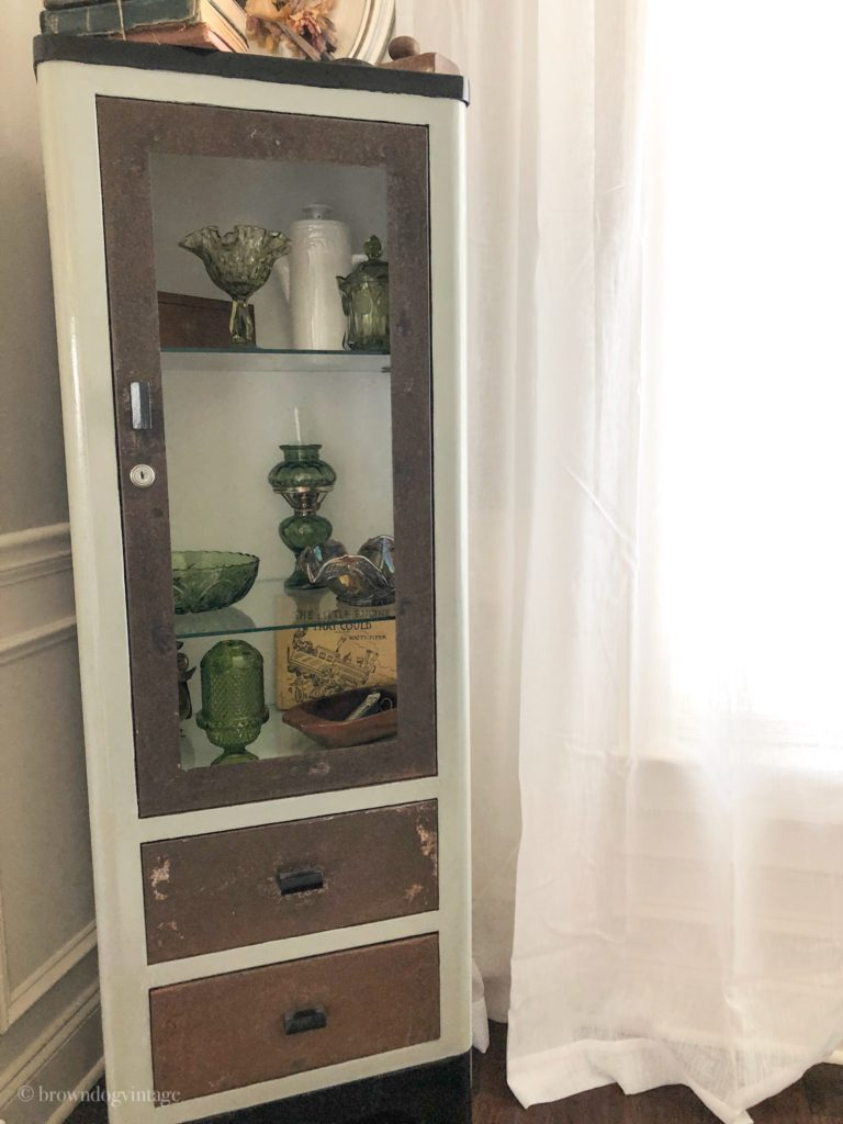 spring dining room vintage medical cabinet