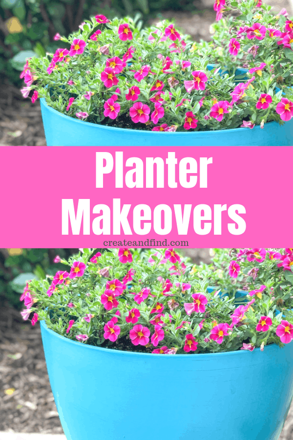 Easy and cheap planter makeovers. Update your old pots with this easy DIY project #createandfind #plantermakeovers #springdiyprojects