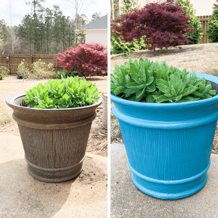 Updating old pots with paint - an easy and affordable way to transform your dated planters