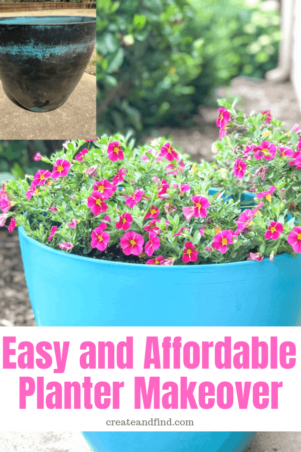Planter Makeovers with Paint - easy and affordable way to update your old and worn out planters for Spring #createandfind #outdoorpotpainting #plantermakeovers