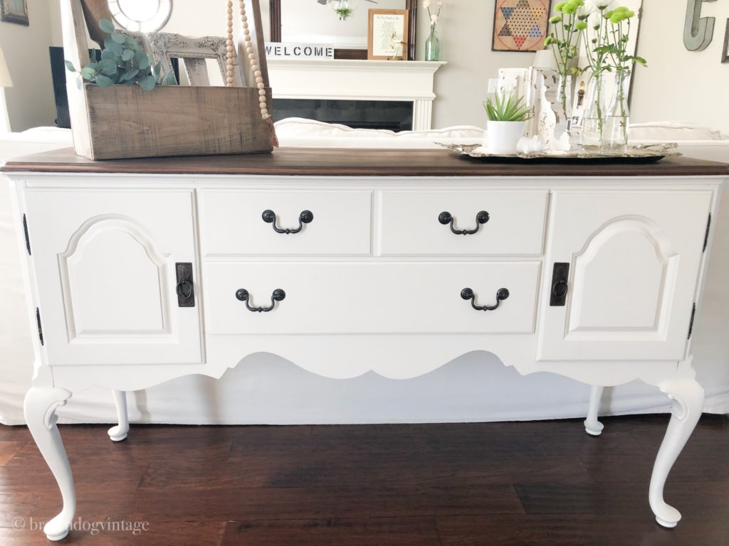 antique buffet makeover clean and simple white with black hardware